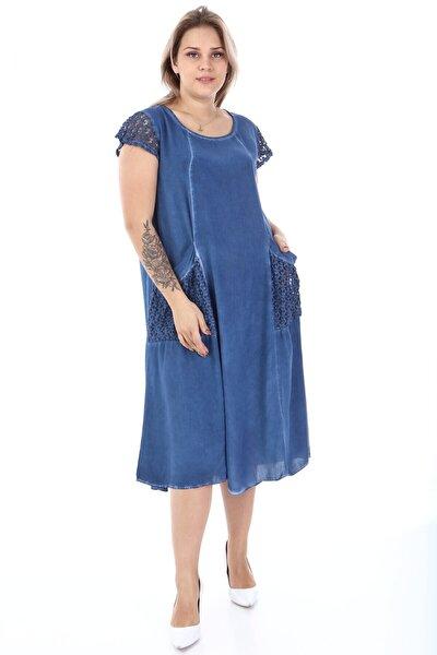 Kadın Mavi Büyük Beden Kolu Cebi Güpür Detay Lı Yıkamalı Viskon Elbise