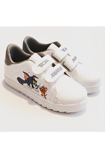 Unisex Çocuk Beyaz Spor Ayakkabı Sneakers Tom & Jerry Figürlü Spor Ayakkabı