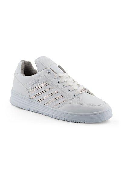 Erkek Beyaz Renk Beyaz Dikişli Taban Spor Ayakkabı