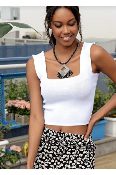 Kadın Beyaz Giyim Kalın Askılı Merserize Kısa Crop
