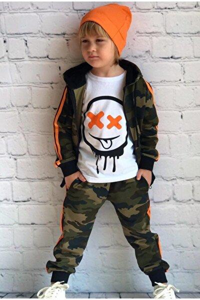 Erkek Çocuk Kamuflaj Neon Şeritli Eşofman Takımı
