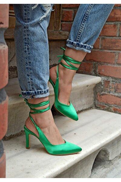 Yeşil Renk Saten Ipli Topuklu Ayakkabı