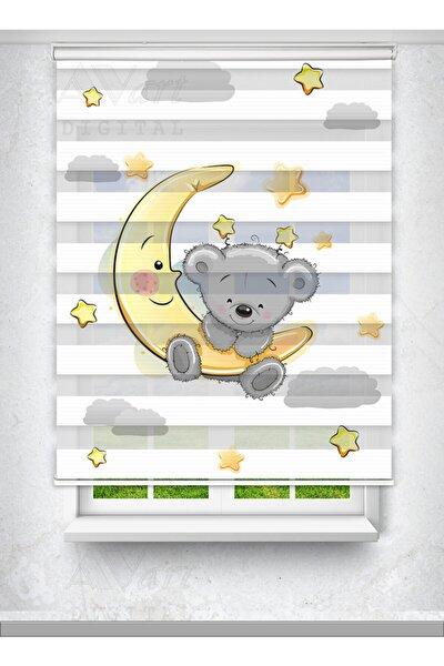 Sevimli Ayıcık Ve Ay Dede Baskılı Perde - Çocuk Odası Perdesi - Baskılı Zebra Perde