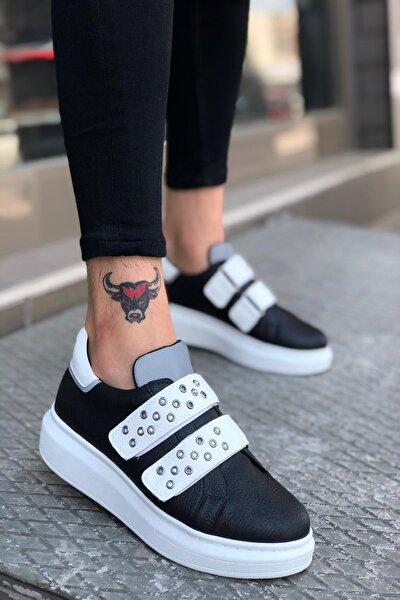 Siyah Beyaz Cırtlı Kalın Taban Erkek Sneakers