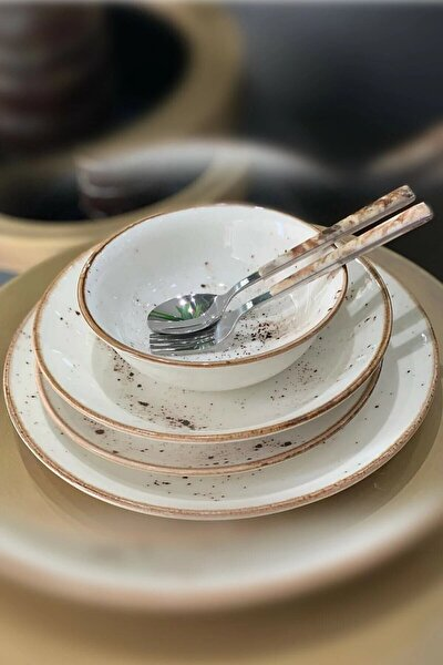 Krem Renkli Lüx Porselen 24 Parça Yemek Takımı 6 Kişilik