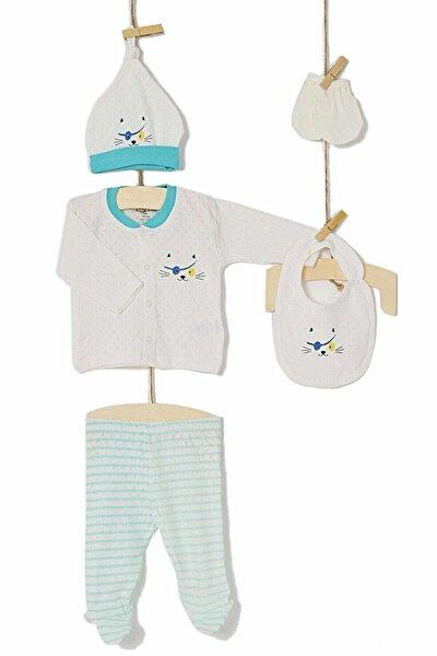 Erkek Bebek Hastane Çıkışı Zıbın 5li Set 5218