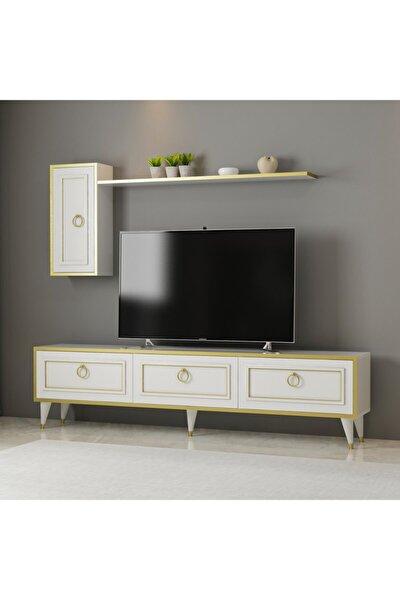 Lorenz Tv Ünitesi Beyaz - Gold