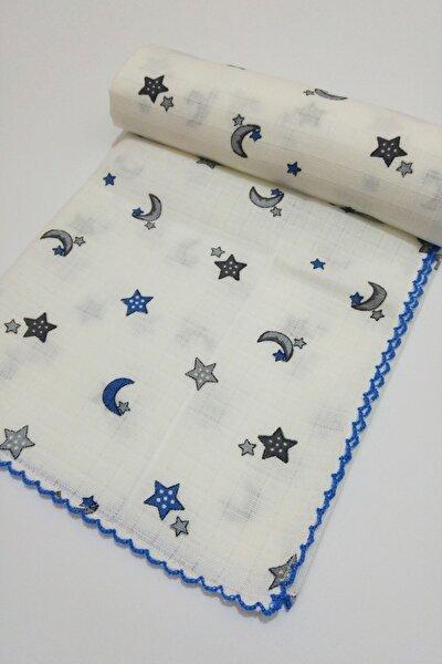 Çok Amaçlı Müslin Bezi Örtü Bebek Battaniyesi Ay Yıldızlı Beyaz-mavi 80x90 Cm 1 Adet