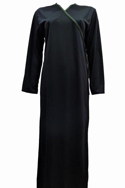 Penye Namaz Elbisesi Kruvaze Siyah Bağlamalı