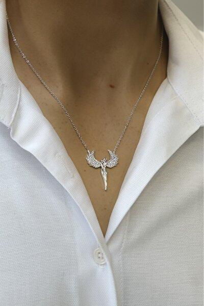 Kadın Zirkon Taşlı Mikail Meleği Figürlü Gümüş Renkli Kolyegümüş