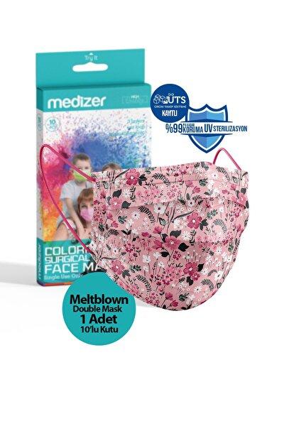 Pembe Çiçek Desenli Meltblown Ultrasonik 3 Katlı Cerrahi Maske 10'lu 1 Kutu