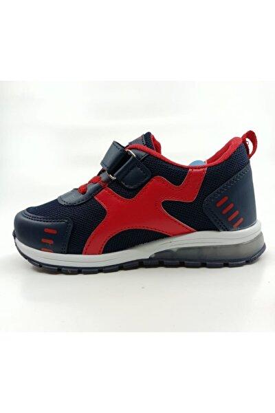 Unisex Lacivert-kırmızı Sneaker Günlük Işıklı Ayakkabı Bağcıklı Cırtlı Çocuk Spor Ayakkabı Vltr
