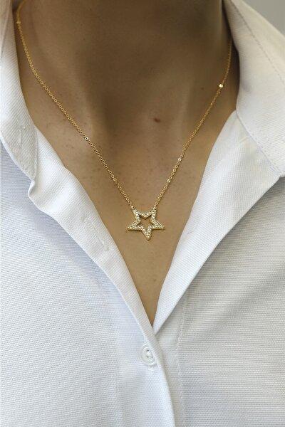 Kadın Zirkon Taşlı Yıldız Figürlü Altın Renkli Kolyealtın