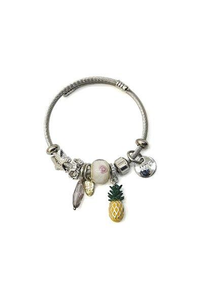 Kadın Beyaz Taşlı Ananas Figürlü Gümüş Renkli Bilezikbeyaz