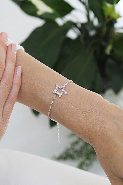 Kadın Zirkon Taşlı Yıldız Figürlü Gümüş Renkli Bileklikgümüş