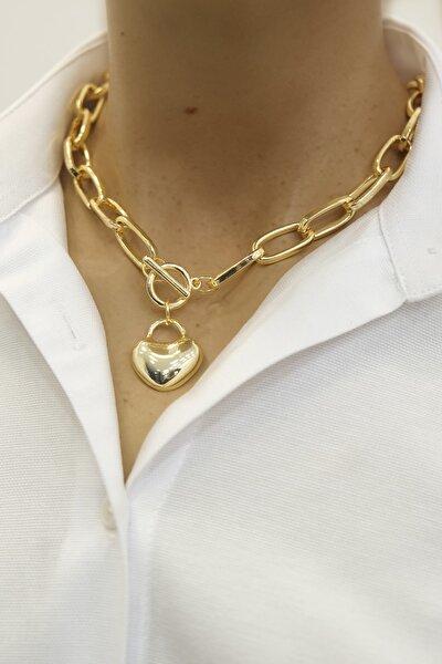 Kadın Kalp Figürlü Altın Renkli Zincir Kolyealtın