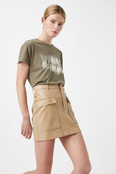 Kadın Haki T-Shirt 1YAK13581OK