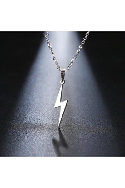 Gri Şimşek Bolt Flash Gordon Metal Zincirli Hediyelik Kolye Takı