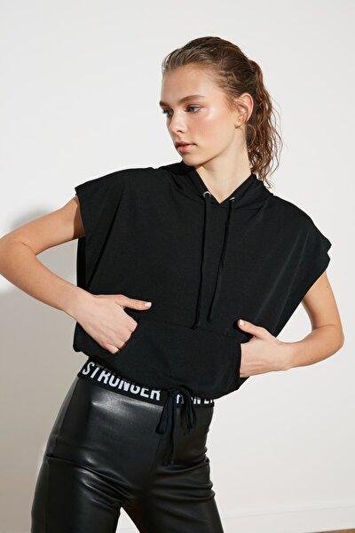 Siyah Cepli Spor Sweatshirt TWOSS20SW0166