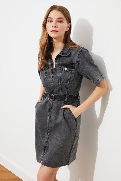 Antrasit Fermuarlı Denim Elbise TWOSS21EL2315