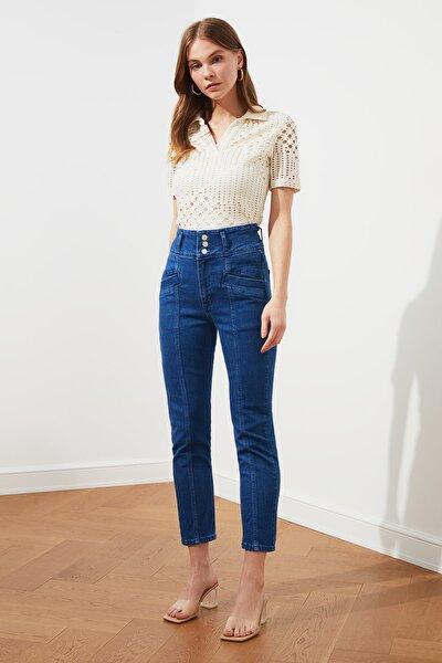 Lacivert Bel Detaylı Yüksek Bel Slim Fit Jeans TWOSS21JE0269