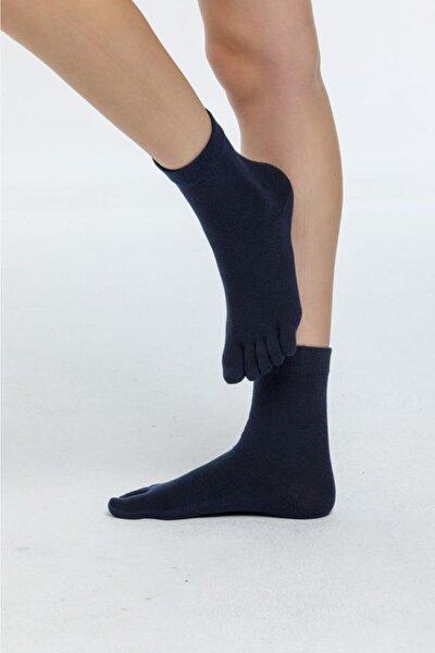 Erkek Lacivert Düz Renk Pamuk Parmaklı Çorap