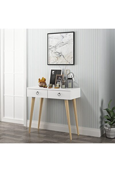 Arden Ahşap Ayaklı Modern Dekoratif Dresuar Beyaz