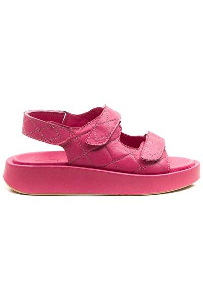 Kadın Fuşya Hakiki Deri Sandalet