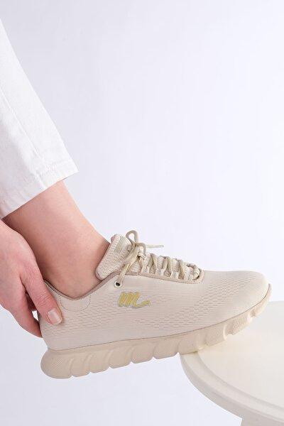 Kadın Bej Memory Taban Sneaker Spor Ayakkabı 830