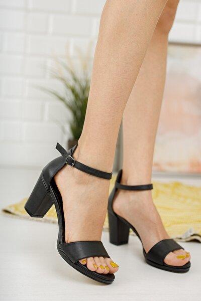 Kadın Siyah Cilt Tek Bant Platformlu Topuklu Ayakkabı