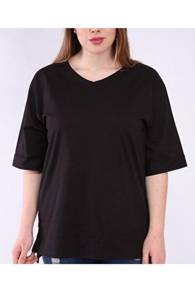 Kadın Siyah V Yaka Yan Yırtmaç Basic T-shirt