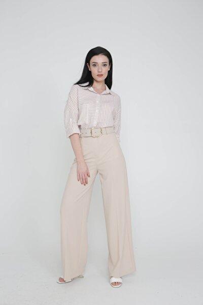 Kadın Taş Rengi Bol Paça Pantolon