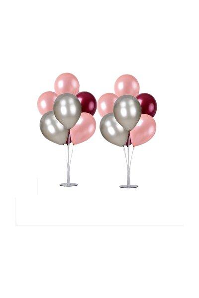 2 Adet 7'li Balon Standı Ve 14 Adet Rose Gold- Gümüş - Bordo Metalik Balon Set
