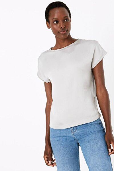 Kadın Gri Kısa Kollu Straight Fit Bluz T41007792