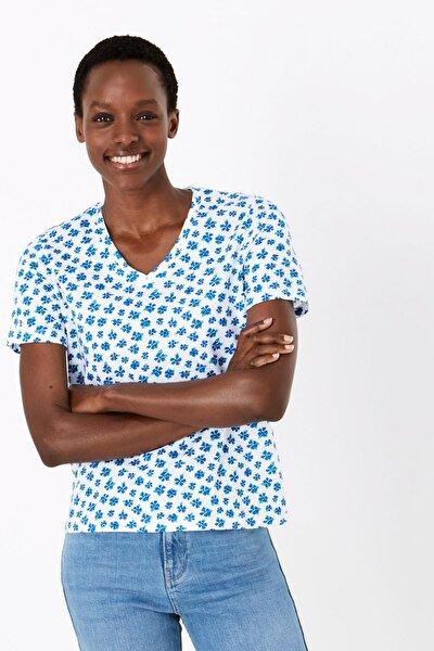 Kadın Mavi Saf Pamuklu Çiçek Desenli T-Shirt T41006275