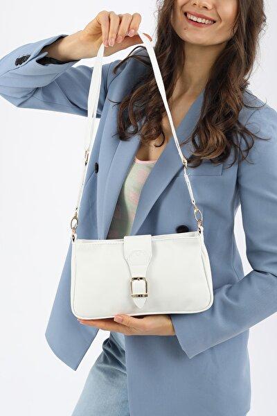 Aynı Butikte 2. Ürün 1 TL Beyaz Kadın Kemer Aksesuarlı Saten Baguette Çanta
