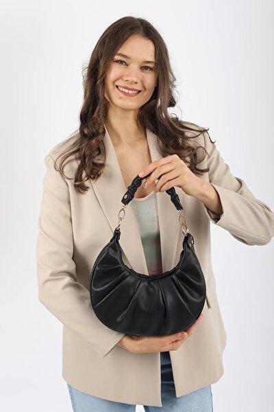 Aynı Butikte 2. Ürün 1 TL Siyah Kadın Oval Büzgülü El Ve Omuz Çantası