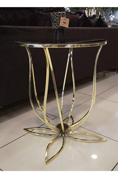 Metal Ayak Gold Renk Lale Yan Sehpa Ve Saksı