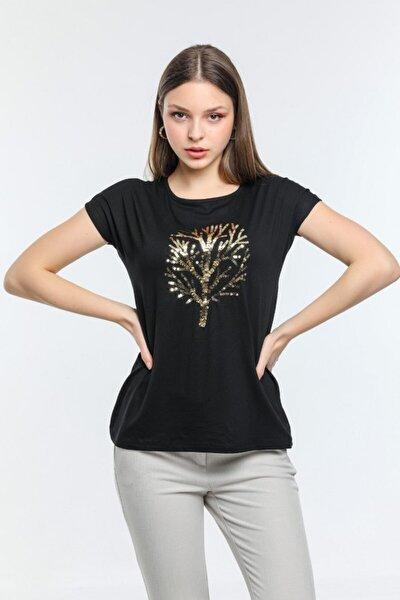 Kadın Siyah Ağaç İşleme Detaylı Bluz
