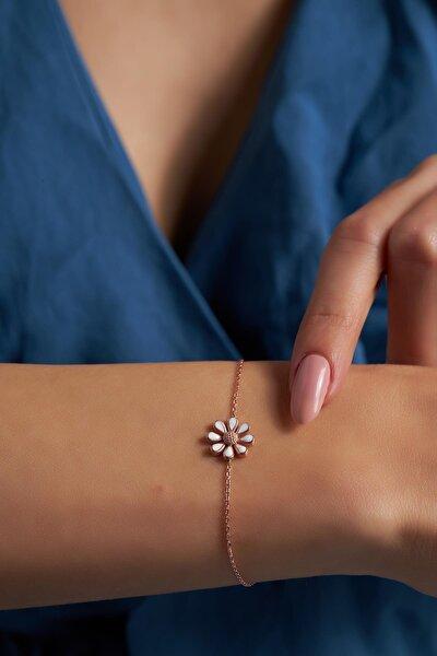 Ninova Papatya Model Mineli Rose Kaplama Gümüş Bileklik