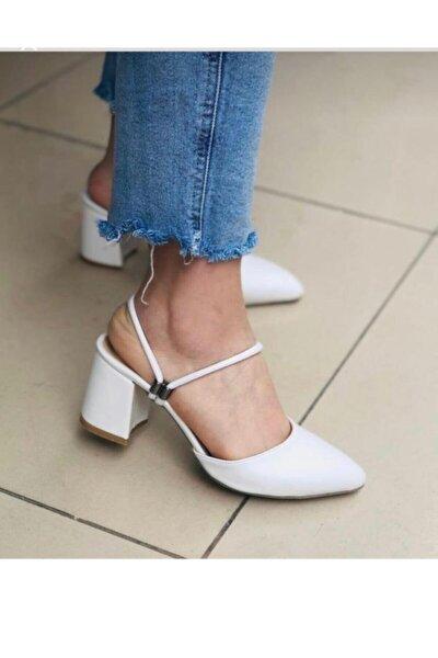 Kadın Beyaz Topuklu İp Sandalet Terlik Ayakkabı