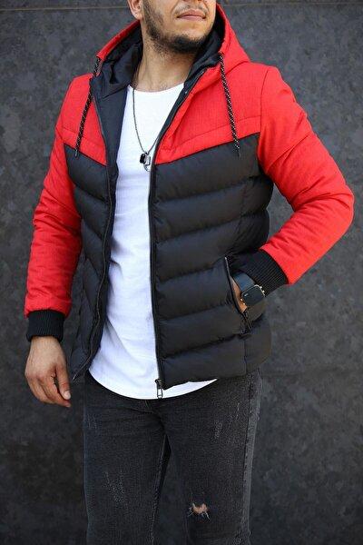 Erkek Kırmızı Çift Renk Kapüşonlu Şişme Mont
