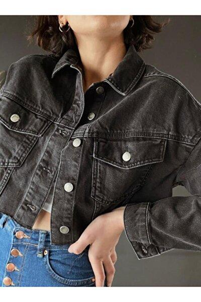 Kadın Gri Kısa Kot Ceket