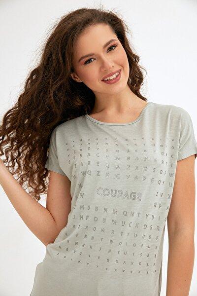 Kadın Yeşil Simli Courage Baskılı Tshirt