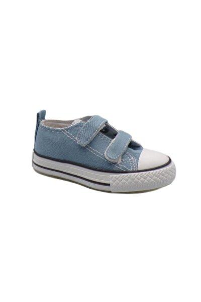 Mavi Keten Işıklı Cırtlı Bebek Ayakkabısı