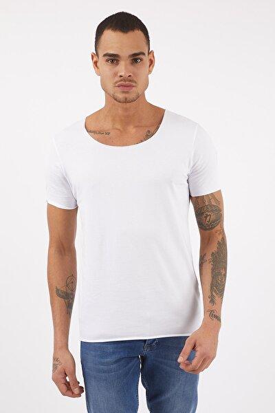 Erkek Basic Beyaz Geniş Yaka Pamuklu Tişört
