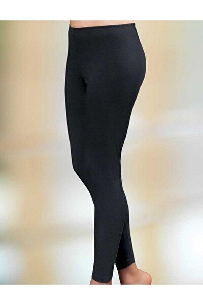 Kadın Siyah Pamuklu Uzun Tayt