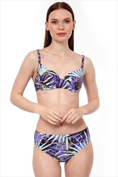 Kadın Mor Yüksek Bel Bikini Takımı 40218