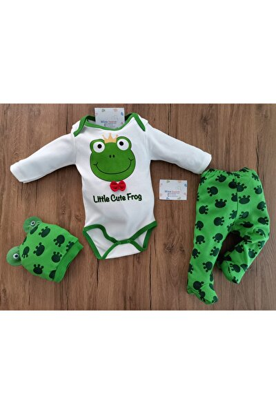 Unisex Bebek Yeşil Kurbağalı 3'lü Zıbın Takımı