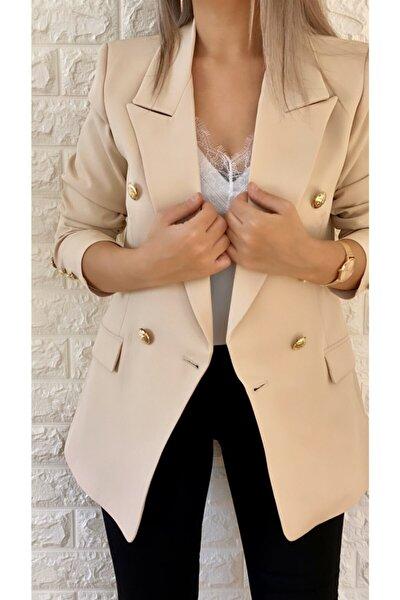 Gold Düğmeli Blazer Ceket Krem